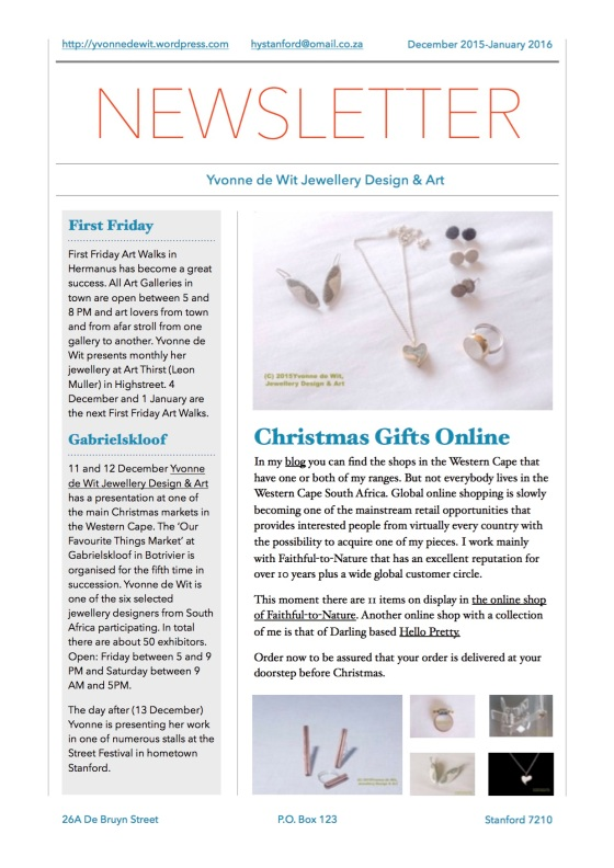 Yvonne de Wit Jewellery Design & Art - newsletter